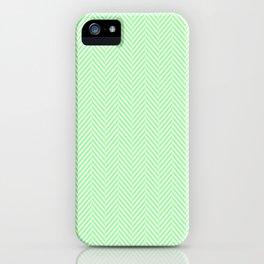 Classic Mint Green & White Herringbone Pattern iPhone Case