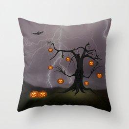 SCARY HALLOWEEN TREE Throw Pillow
