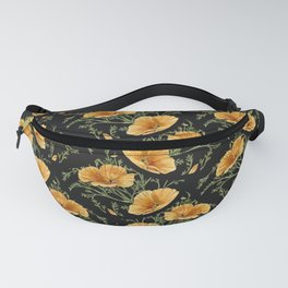 California Poppies on Charcoal Black Fanny Pack