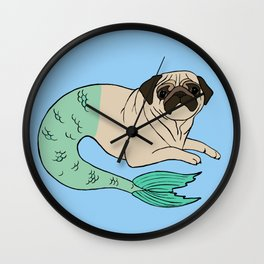 Merpug in Blue Wall Clock