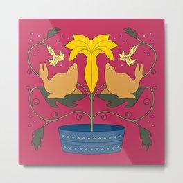 Seal Flower Folk Art Metal Print