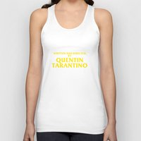 quentin tarantino Tank Tops featuring Written And Directed By Quentin Tarantino by FunnyFaceArt