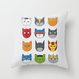 Super Cats Throw Pillow