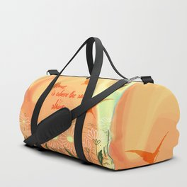 Home Is Where The Sun Shines Typography Design Duffle Bag