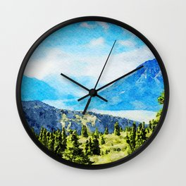 Watercolor Painting of Kluane National Park and Reserve of Canada Wall Clock