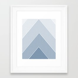 Shades of Blue Abstract geometric pattern Framed Art Print