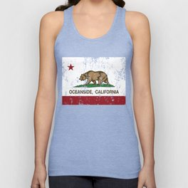 Oceanside California Republic Flag Distressed Unisex Tank Top