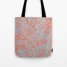 Floral Silhouette Pattern - Broken but Flourishing in Coral Tote Bag