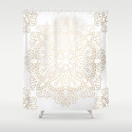 Mandala White Gold Shimmer by Nature Magick Shower Curtain