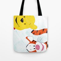 tigger Tote Bags featuring winnie the pooh and tigger by Art_By_Sarah