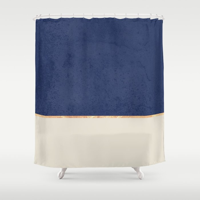 Navy Blue Gold Greige Nude Shower Curtain By Marilenaxiari
