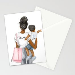 I got it from my mama toddler boy curly hair dark skin Stationery Cards