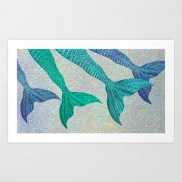 Glistening Mermaid Tails Art Print