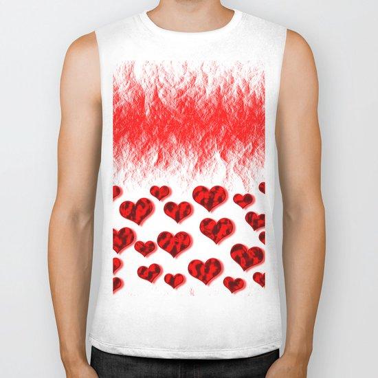 Hearts Abstract Pattern Biker Tank