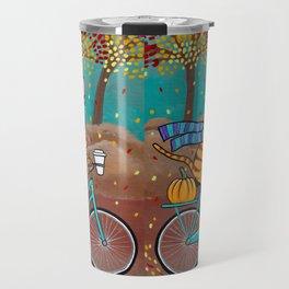 Autumn Fat Cat Bicycle Ride Travel Mug