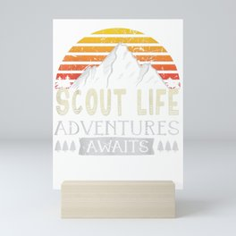 Scout Life Adventures Awaits Camping Scouting Tshirt gift Mini Art Print