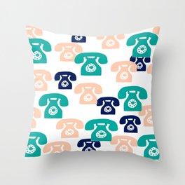 You rang? // 1950s Phone Pattern Throw Pillow
