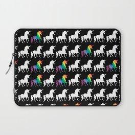White & Watercolor Rainbow Unicorn Silhouettes Pattern Laptop Sleeve