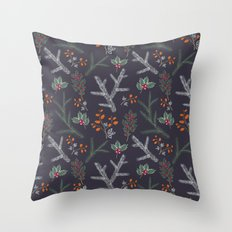Seamless pattern with floral branches winter christmas hand drawn texture background Throw Pillow