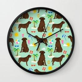 Chocolate Lab labrador retriever dog breed beach summer vacation dog gifts Wall Clock