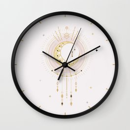 MYSTIC  TRIBAL MOON - soft pink and gold Wall Clock