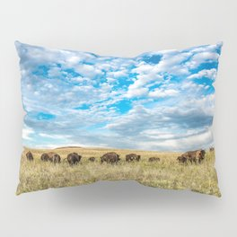 Grazing - Bison Graze Under Big Sky on Oklahoma Prairie Pillow Sham