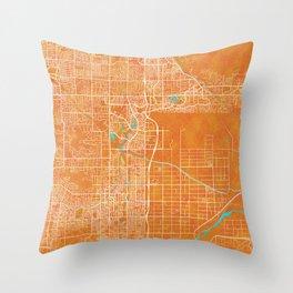 Scottsdale, AZ, USA, Gold, Blue, City, Map Throw Pillow