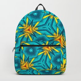 Birds of Paradise Floral Pattern \\ Unique Tropical Vibes \\ Green Yellow Blue Orange Color Scheme Backpack