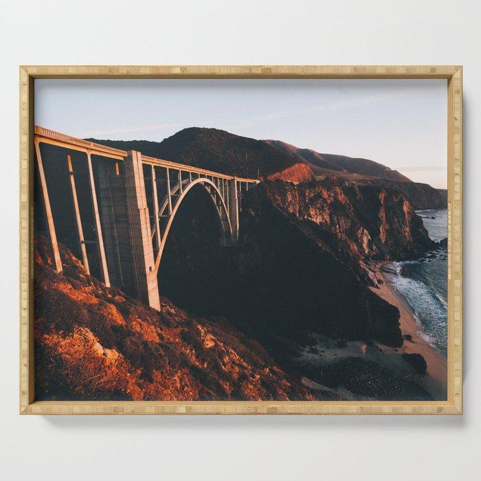 Sunburnt Bixby Bridge - Big Sur, California Serving Tray