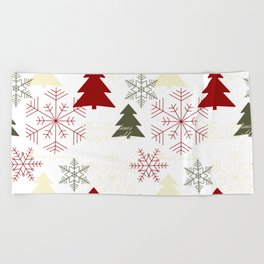 Christmas pattern with gift boxes and snowflakes. Beach Towel