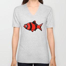 8-Bit Pixel Art Tiger Barb Tropical Fish Unisex V-Neck