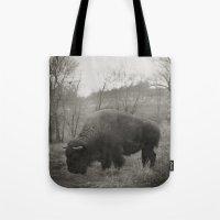 buffalo Tote Bags featuring Buffalo  by Kaelyn Ryan Photography