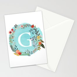 Personalized Monogram Initial Letter G Blue Watercolor Flower Wreath Artwork Stationery Cards