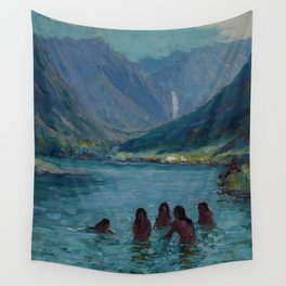 Woman Night Swimming at Blue Lagoon Swimming Hole, Hawaii landscape painting by Lionel Walden Wall Tapestry