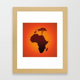 African Safari Map Silhouette Background Framed Art Print