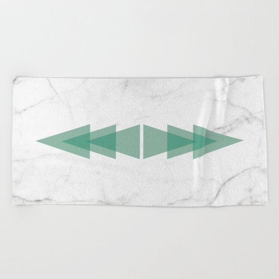 Marble Scandinavian Design Geometric Triangle Beach Towel