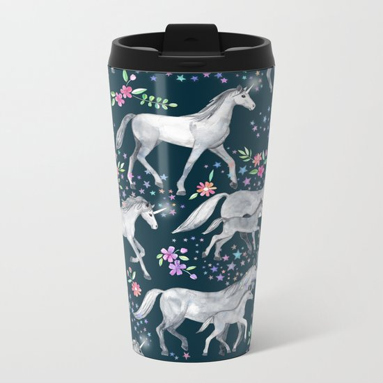 Unicorns and Stars on Dark Teal Metal Travel Mug