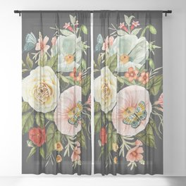 Wildflower and Butterflies Bouquet on Charcoal Black Sheer Curtain