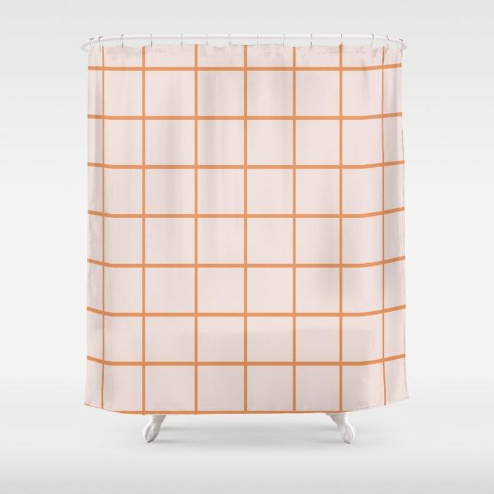 Retro Orange Checks Shower Curtain
