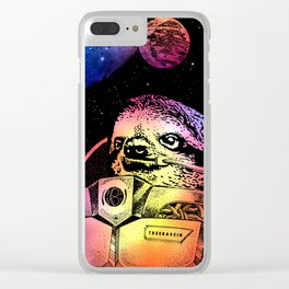 Astronaut Sloth Clear iPhone Case