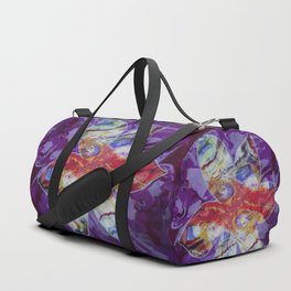 Bright Abstract Flower; Purple, Lavender and Maroon Background; Fluid Abstract 55 Duffle Bag