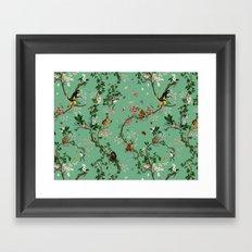 Monkey World Green Framed Art Print