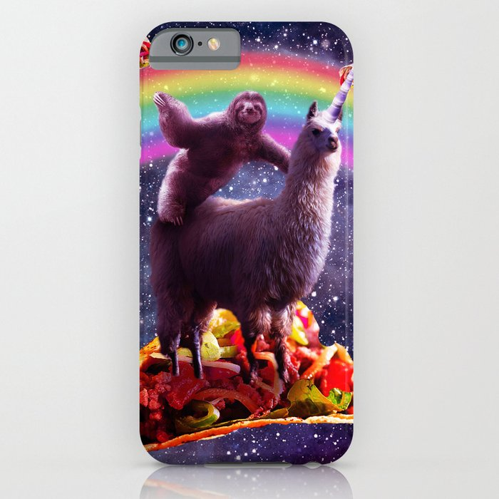 space sloth riding llama unicorn - taco & burrito iphone case