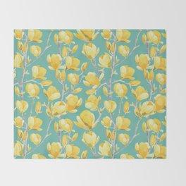 Yellow Magnolia Spring Bloom Throw Blanket