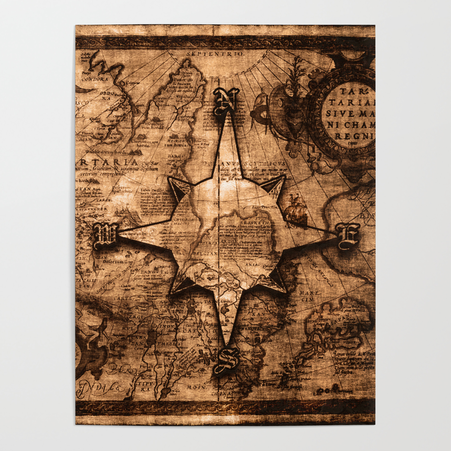 Antique World Map & Compass Rose Poster by onlinegifts