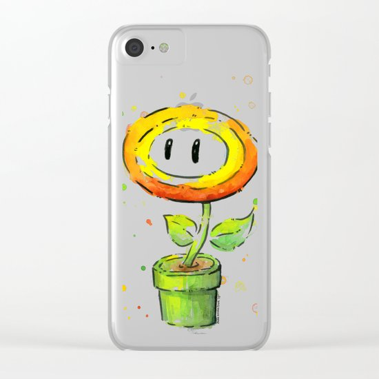 Fire Flower Watercolor Painting Mario Game Geek Art Clear iPhone Case