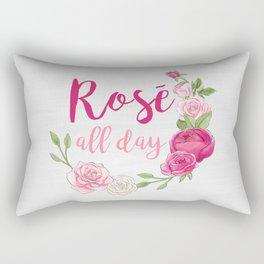 Rose All Day - White Wood Rectangular Pillow