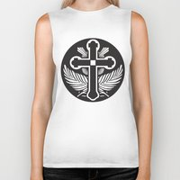 religious Biker Tanks featuring Black And White Cross Religious Symbol by ArtOnWear
