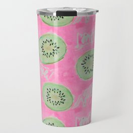 Watercolor Kiwi Slices in Neon Pink Punch Travel Mug