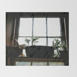 Plants in the Pantry Window Throw Blanket